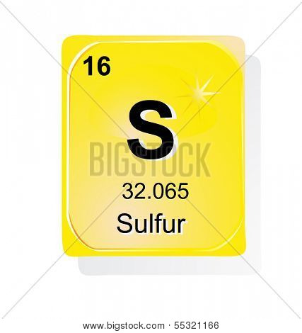 Sulfur chemical element with atomic number, symbol and weight