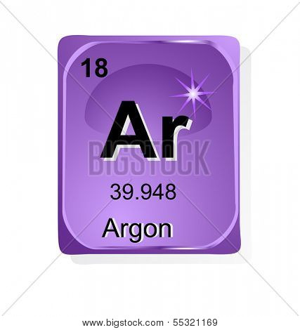 Argon chemical element with atomic number, symbol and weight