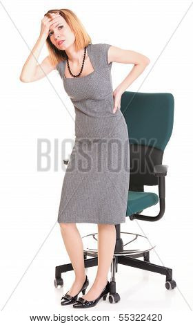 Business Woman With Back Pain After Long Work On Chair Isolated