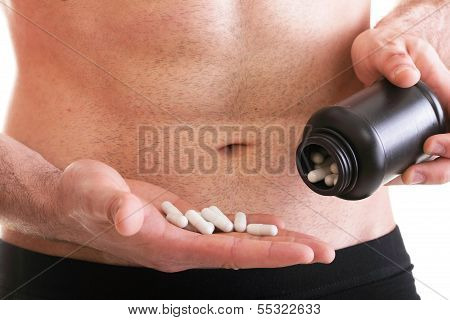 Pills Drag Tablet Boxes Supplements Man Isolated