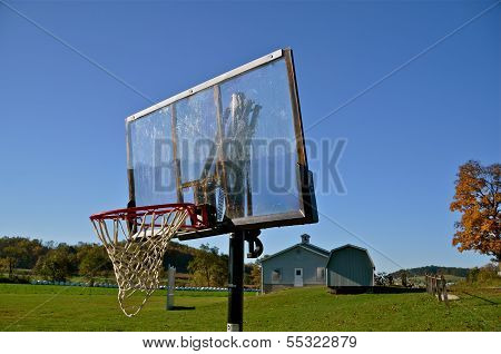 Basketball equipment at an Amish schoolyard
