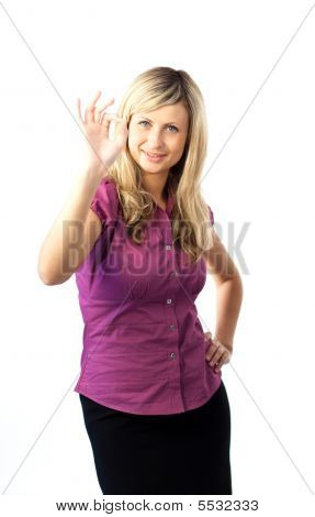 Woman Showing An Okay Gesture