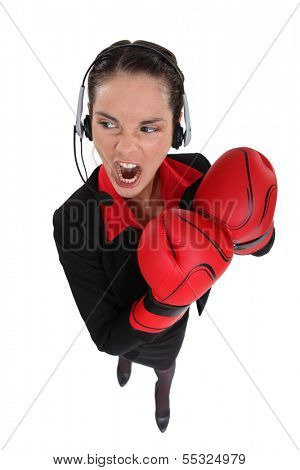 businesswoman ready for fight