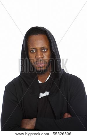 African Man In A Black Hooded Top