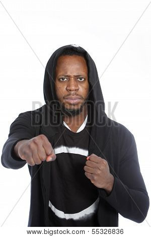 Combative African Man Making A Fist
