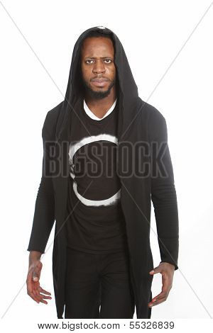 African Man In Black Hooded Clothing