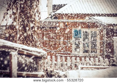Snowfall Winter Weather In Village With Snowflakes And Old House Window Moody Seasonal Scene Snow St