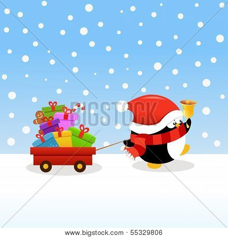 Penguin Delivering gifts