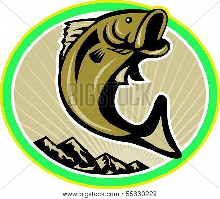 Largemouth Bass Jumping Circle