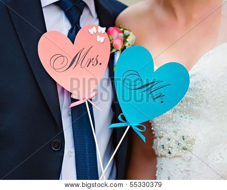 Couple Show Hearts Card With Text Mr And Mrs