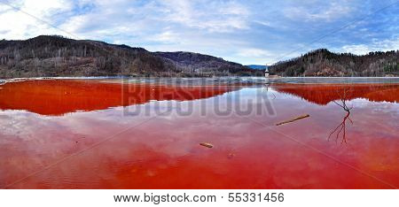 Environmental Disaster. Lake Full With Contaminated Water From A Mine