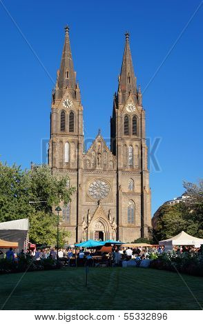 Saint Ludmila Church on Namesti Miru Square, Prague, Czech Republic