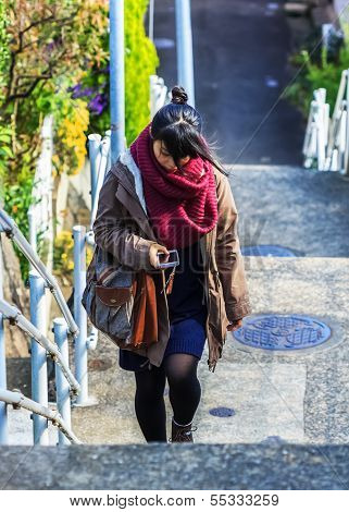 Japanese woman with a Mobilephone