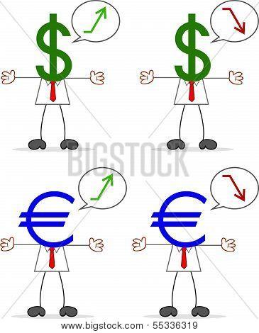 Businessman With Dollar Euro