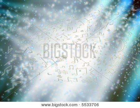 Music Notes And Stars  Background