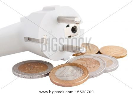 Plug With Euro Coins Isolated On White Background