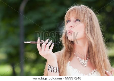 Woman And Cigarette Holder