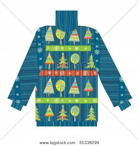 Christmas sweater knitted pattern with trees