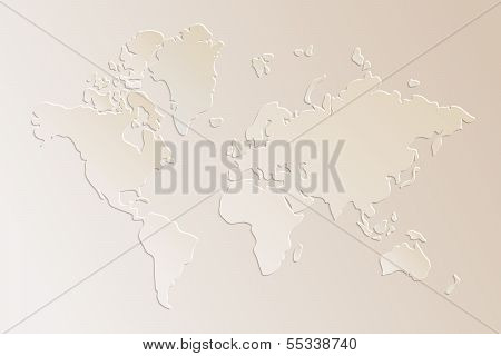 Subtle 3d paper world map illustration in beige, vector