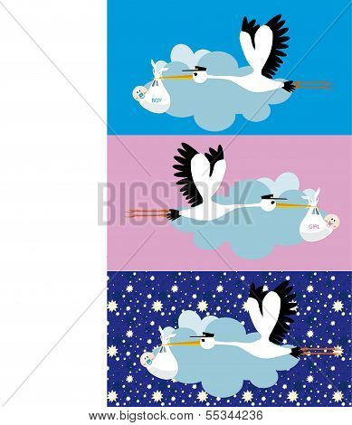 Stork delivering girl and  boy