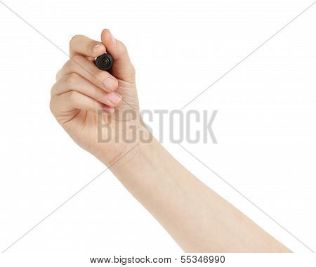 Female Teen Hand On White Board