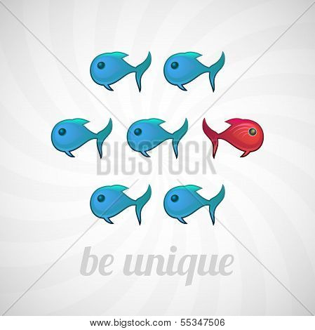 Be unique concept, blue red fish, isolated