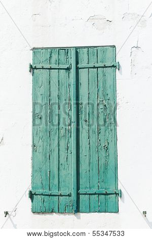 Green Weather Worn Wooden Shutters