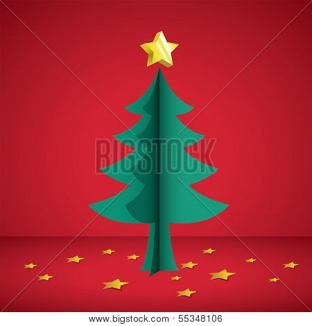 Cristmas tree paper cutting