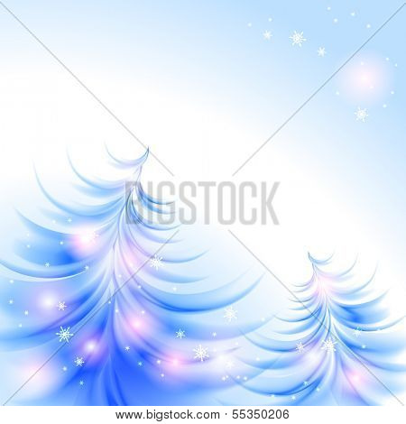 Christmas icy abstract background with fir-trees