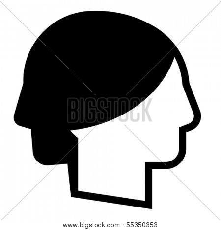 Man and woman profile - conceptual vector symbol of duality of human nature