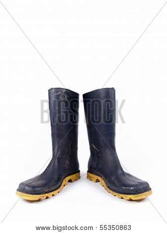 Pair Of Dark Blue Dirty Rubber Boots