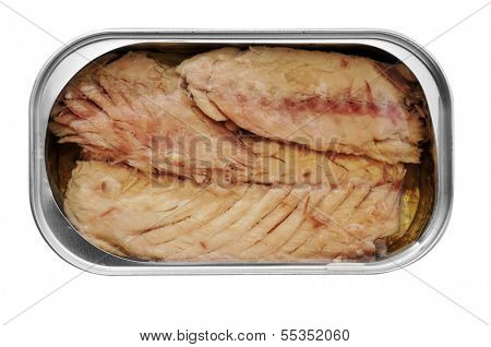 an open can of canned mackerel on a white background