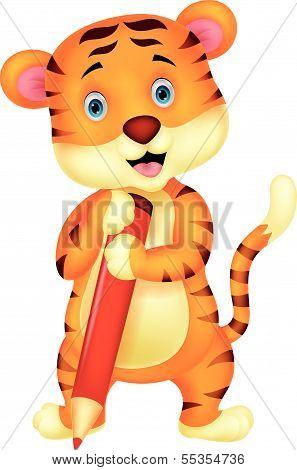 Cute tiger cartoon holding red pencil