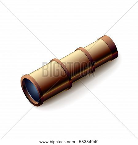 Vintage spyglass, closeup isolated on white