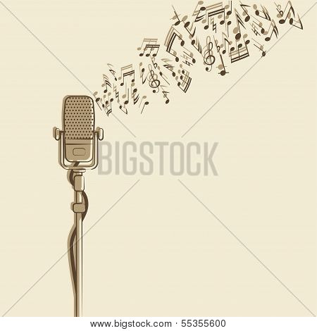 retro background with microphone