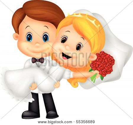 Kids cartoon Playing Bride and Groom