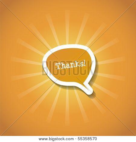 Postcard gratitude with the orange rays of the