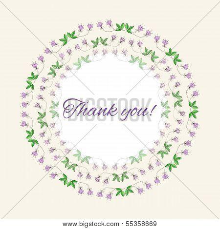 Postcard gratitude with romantic flowers and light pastel backgr