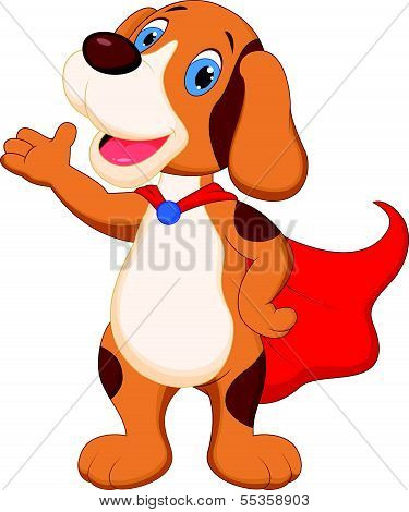 Cute super dog cartoon presenting