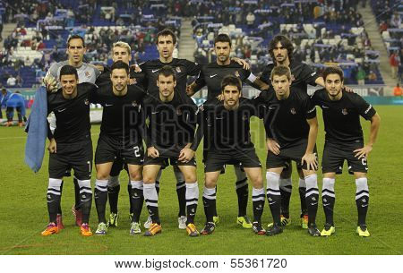 BARCELONA - NOV, 30: Real Sociedad team posing before a Spanish League match against RCD Espanyol at the Estadi Cornella on November 30, 2013 in Barcelona, Spain