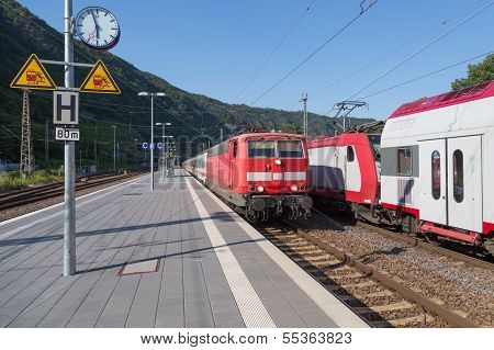 Train Arriving At Station Of Cochem, Germany