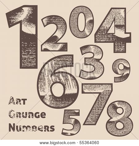 Vector grunge scratched numbers