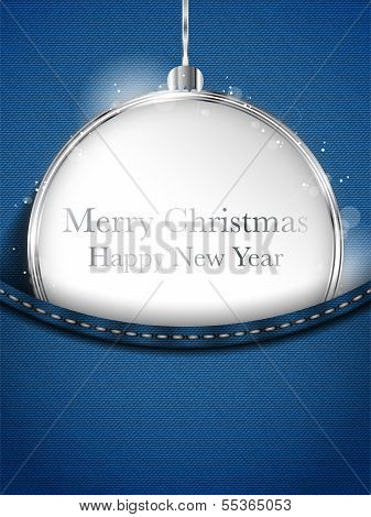 Merry Christmas Happy New Year Ball Silver In Jeans Pocket