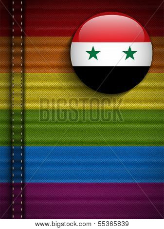 Gay Flag Button On Jeans Fabric Texture Syria
