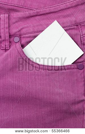 Close up of jeans pocket with blank paper