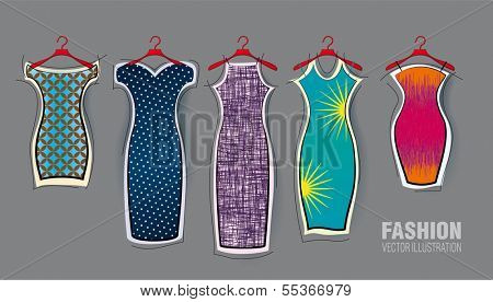 Set of vector dresses. Decorative style