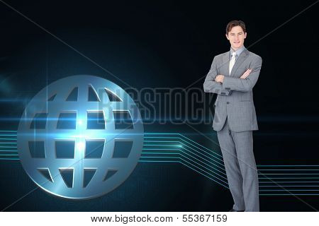 Composite image of assertive businessman standing in front of the camera