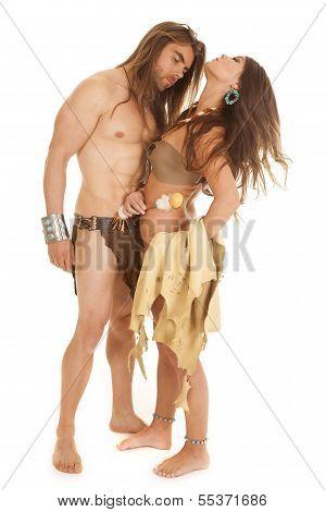 Couple Woman Indian Man Loin Cloth Head Back