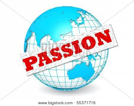 Globe with passion word