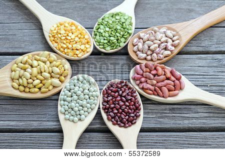 Mix Beans In Wooden